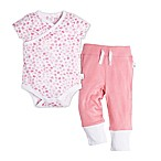 Burt's Bees Baby® Size 6M Short Sleeve Mini Flower Bodysuit and Pant Set in Pink