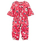 carter's® Newborn Floral Print Button-Front Romper in Red