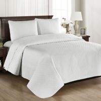 Brielle Basketweave Full/Queen Quilt Set in Off White