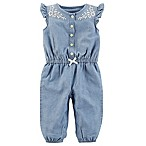 carter's® Size 9M Newborn Embroidered Flower Button-Front Romper in Chambray
