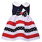 Bonnie Baby Size 12M Stripe and Dot Dress in Navy/Red
