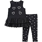 Juicy Couture® Size 6-9M Silver Sequin Heart Sleeveless Top and Legging Set in Black
