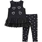 Juicy Couture® Size 24M 2-Piece Silver Heart Tank Top and Legging Set in Black