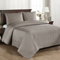 Brielle Basketweave Full/Queen Quilt Set in Grey