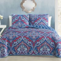 Avondale Manor Cantara Reversible Queen Quilt Set in Blue