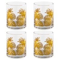 Home Essentials & Beyond Gold Pineapple Double Old Fashioned Glasses (Set of 4)