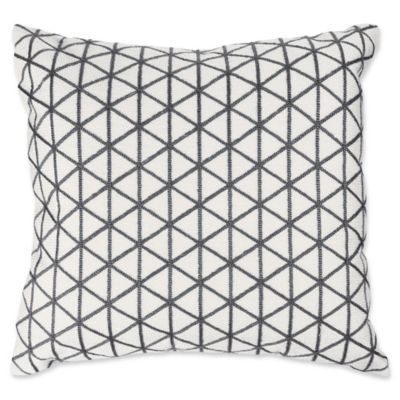 Nottingham Home Geo Triangle Square Throw Pillow In Ivory/Charcoal