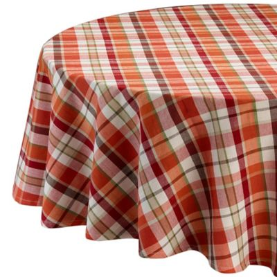 Design Imports Pumpkin Spice Plaid 60 Inch X 84 Inch Oblong Tablecloth