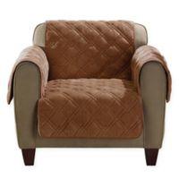 SureFit Home Décor Plush Comfort Chair Cover in Brown