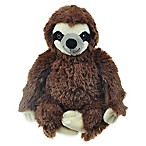 Bounce & Pounce Plush Sloth Squeaker Dog Toy in Brown