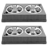 Iconic Pet Designer Rattan Double Diner Pet Bowls in Grey (Set of 2)
