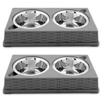 Iconic Pet Designer Rattan Double Diner Pet Bowls in Grey (Set of 2)