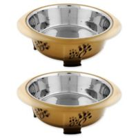 Iconic Pet Designer Oval Fusion Small Pet Bowls in Brown (Set of 2)