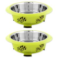 Iconic Pet Designer Oval Fusion Large Pet Bowls in Green (Set of 2)