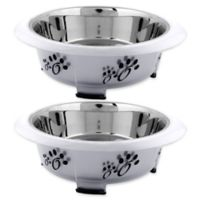 Iconic Pet Designer Oval Fusion Large Pet Bowls in Grey(Set of 2)