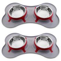 Iconic Pet Color Splash Designer Bone Shape Fusion Diner Dog Bowls in Grey (Set of 2)