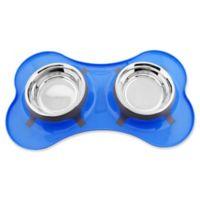 Iconic Pet Color Splash Designer Bone Shape Fusion Diner Dog Bowl in Blue
