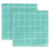 KitchenSmart® Colors 2-Pack Solid Windowpane Dish Cloth in Surf