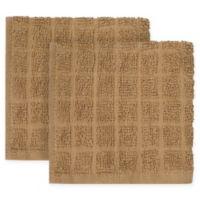 KitchenSmart® Colors 2-Pack Solid Windowpane Dish Cloth in Mocha