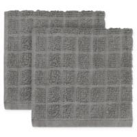 KitchenSmart® Colors 2-Pack Solid Windowpane Dish Cloth in Grey