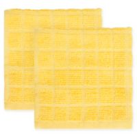 KitchenSmart® Colors 2-Pack Solid Windowpane Dish Cloth in Daffodil