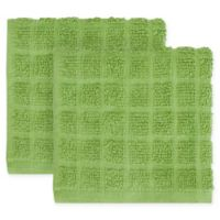 KitchenSmart® Colors 2-Pack Solid Windowpane Dish Cloth in Stem
