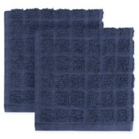 KitchenSmart® Colors 2-Pack Solid Windowpane Dish Cloth in Navy