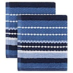 KitchenSmart® Colors Multi Stripe 2-Pack Dish Cloths in French Blue/Navy