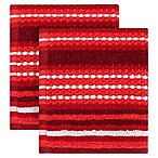 KitchenSmart® Colors Multi Stripe 2-Pack Dish Cloths in Paprika