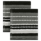 KitchenSmart® Colors Multi Stripe 2-Pack Dish Cloths in Mineral Grey/Caviar