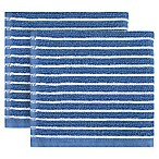 KitchenSmart® Colors Horizontal Stripe 2-Pack Dish Cloths in French Blue