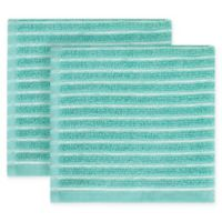 KitchenSmart® Colors Horizontal Stripe 2-Pack Dish Cloths in Surf