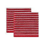 KitchenSmart® Colors Horizontal Stripe 2-Pack Dish Cloths in Paprika