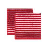 KitchenSmart® Colors Horizontal Stripe 2-Pack Dish Cloths in Paprika