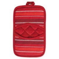 KitchenSmart® Colors Multi Stripe Pocket Pot Mitt in Paprika