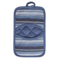 KitchenSmart® Colors Multi Stripe Pocket Pot Mitt in French Blue/Navy