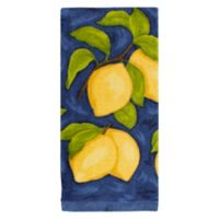 KitchenSmart® Colors Painterly Lemons Fiber Reactive Kitchen Towel in Navy