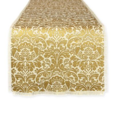 Design Imports Burlap Damask 72 Inch Table Runner In Gold