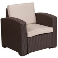 Flash Furniture Outdoor Faux Rattan Chair in Chocolate Brown with Beige Cushions
