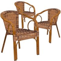 Flash Furniture Rattan Patio Chairs in Brown with Dark Red Frame (Set of 3)