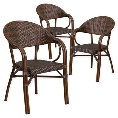 Flash Furniture Rattan Patio Chairs In Dark Brown (Set Of 3)