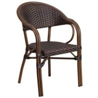 Flash Furniture 24.5-Inch Rattan Patio Chair in Dark Brown with Red Frame