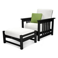 POLYWOOD® 2-Piece Mission Chair and Ottoman Set in Black/White