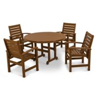 POLYWOOD® Signature 5-Piece Outdoor Dining Set in Teak