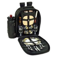 Picnic at Ascot Trellis 2-Person Picnic Backpack in Black/Yellow