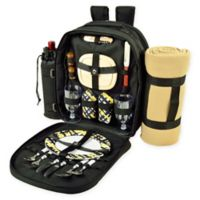 Picnic at Ascot Trellis 2-Person Picnic Backpack with Blanket in Black/Yellow