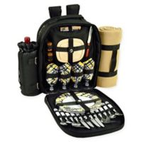 Picnic at Ascot Trellis Collection 4-Person Picnic Backpack with Blanket in Black/Yellow