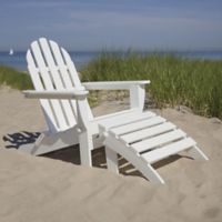 POLYWOOD® Classic 2-Piece Folding Adirondack Chair and Ottoman Set in White