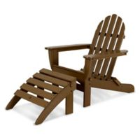 POLYWOOD® Classic 2-Piece Folding Adirondack Chair and Ottoman Set in Teak