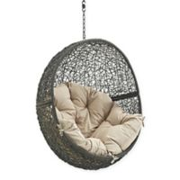 Modway Hide Patio Swing Chair Without Stand in Grey/Beige